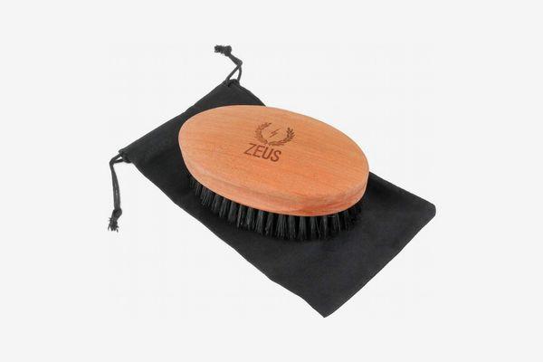 Zeus Boar Hair Military Style Beard Brush, Firm Bristle