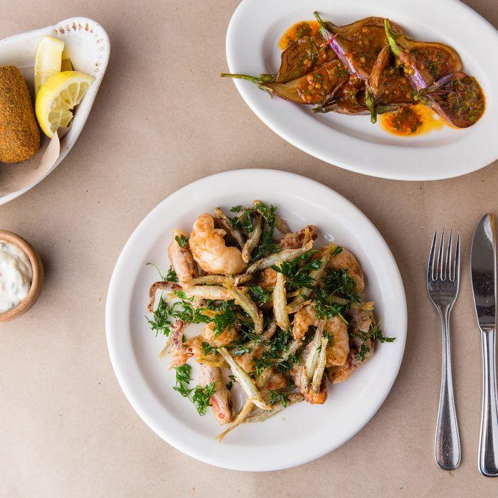 Potato-and-rapini croquettes; fairytale eggplant, chili vinaigrette; fritto misto.