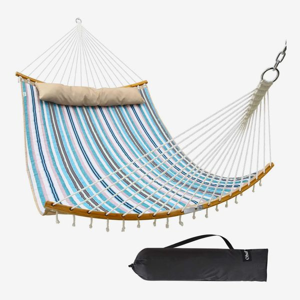 Ohuhu Double Hammock Quilted Fabric Swing with Strong Curved-Bar Bamboo & Detachable Pillow