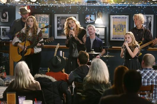 "NASHVILLE - ""I've Got Reasons To Hate You"" - Rumors start to fly surrounding Rayna and Luke's breakup but Rayna's determined not to let them bring her down and finds a way to return to the public eye on her own terms. Juliette's pregnancy is starting to make her stir crazy and she's eager to get her career back on track, but at what cost? Then, Scarlett plans a surprise for Deacon, but it doesn't pan out as she had hoped. Later, Gunnar travels to Austin to mend fences with his estranged nephew and Teddy stops by Maddie and Daphne's recording session at school where he unexpectedly runs into Jeff, on ""Nashville,"" WEDNESDAY, FEBRUARY 11 (10:00-11:00 p.m. ET) on the ABC Television Network. (ABC/Mark Levine)LENNON STELLA, CONNIE BRITTON, MAISY STELLA"