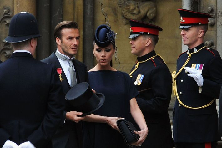 David and Victoria Beckham at the 2011 royal wedding.