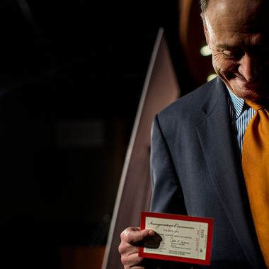 WASHINGTON, DC - January 14:   Senator Charles Schumer (D-NY),  Chairman of the Joint Congressional Committee on Inaugural Ceremonies, announces Inaugural improvements  and holds the unveiled 2013 inauguration ticket in his hand during a press conference on Capitol Hill Monday, January 14, 2013. (Photo by Melina Mara/The Washington Post)