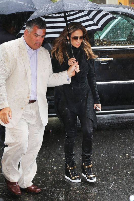 Jennifer Lopez spotted out and about on a rainy day in New York City on May 8th, 2013.