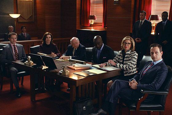 """Parallel Construction, Bitches""----Florrick/Agos and Lockhart/Gardner fight to keep Lemond Bishop as a client when he is arrested on a drug-related charge, which possibly resulted from a leak inside Alicia's firm. Meanwhile, the investigation into voter fraud in the gubernatorial election continues to move forward when Marilyn is approached by an agent in the Office of Public Integrity, on THE GOOD WIFE, Sunday, March 9 (9:00-10:00 PM, ET/PT) on the CBS Television Network. Pictured L-R: Matt Czuchry as Cary Agos, Julianna Margulies as Alicia Florrick, Wallace Shawn as Charles Lester, Mike Colter as Lemond Bishop, Christine Baranski as Diane Lockhart, and Josh Charles as Will Gardner Photo: CBS ©2014 CBS Broadcasting, Inc. All Rights Reserved"
