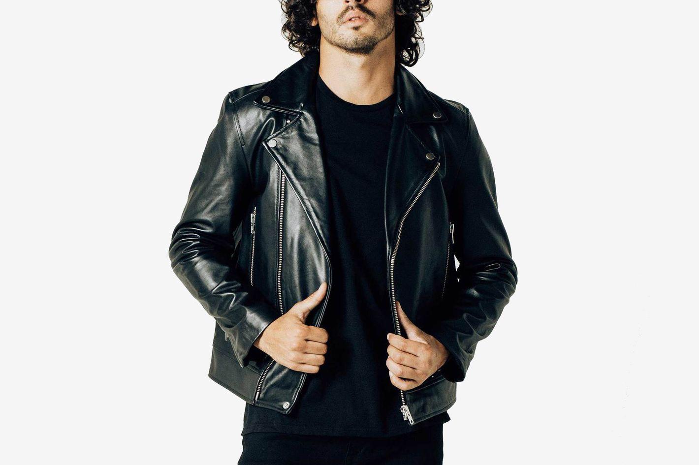DSTLD Mens Leather Moto Jacket In Black
