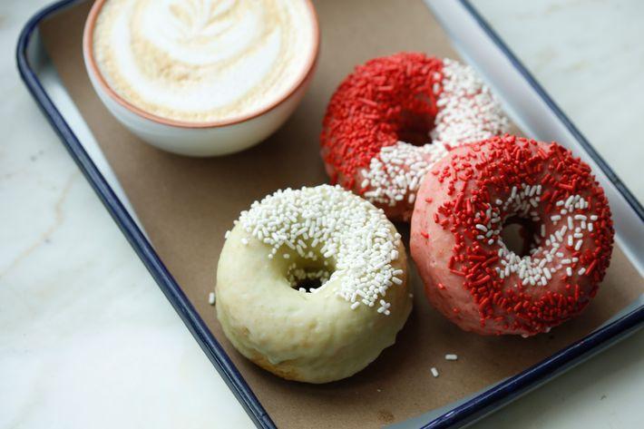 Housemade doughnuts: Snow Creek Berry, Salted Dark Chocolate.