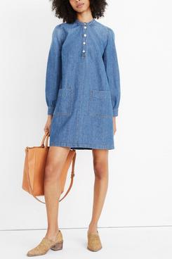 Madewell Denim Patch-Pocket Popover Shirtdress