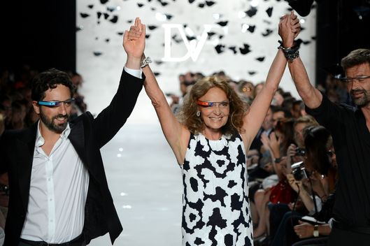 NEW YORK, NY - SEPTEMBER 09:  (L-R) Google co-founder Sergey Brin, and designers Diane Von Furstenberg and Yvan Mispelaere walk the runway at the Diane Von Furstenberg Spring 2013 fashion show during Mercedes-Benz Fashion Week on September 9, 2012 in New York City.  (Photo by Frazer Harrison/Getty Images for Mercedes-Benz)