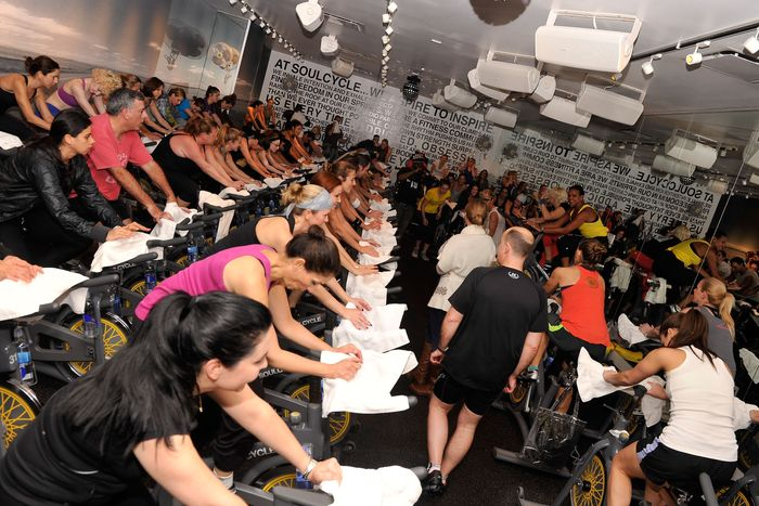 A packed SoulCycle class.