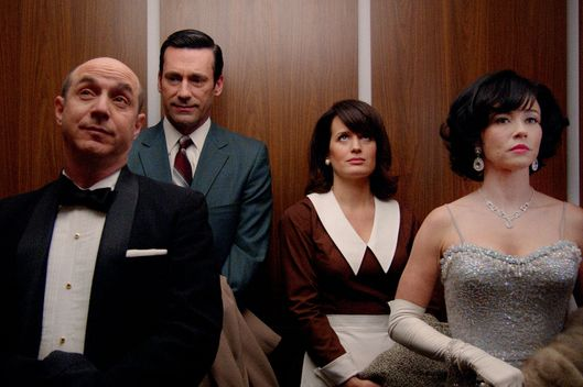 Brian Markinson?as Dr. Arnold Rosen, Jon Hamm as Don Draper, Elizabeth Reaser as Diana and Linda Cardellini as Sylvia Rosen - Mad Men _ Season 7, Episode 9- Photo Credit: Courtesy of AMC