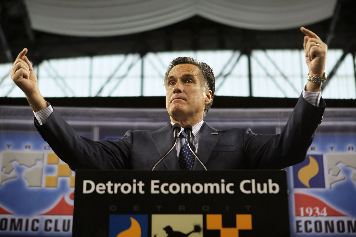 Republican presidential candidate, former Massachusetts Gov. Mitt Romney speaks to members of the Detroit Economic Club during a luncheon at Ford Field on February 24, 2012.