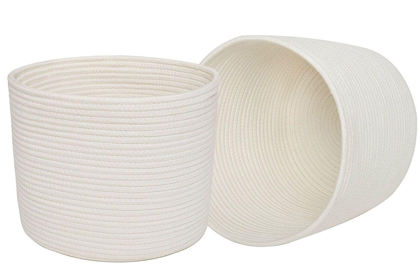 La Jolie Muse Large Cotton Rope Storage Basket
