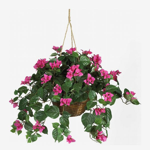 Nearly Natural 24in. Bougainvillea Hanging Basket Silk Plant