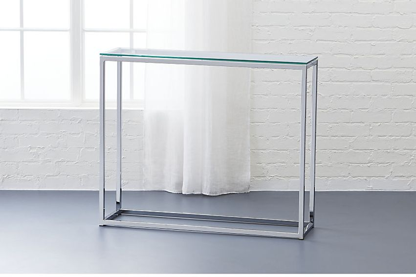 CB2 Smart Glass Top Console Table