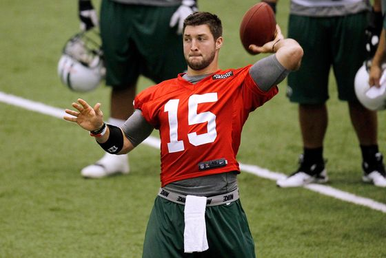 FLORHAM PARK, NJ - JUNE 12:  Tim Tebow #15 of the New York Jets works out during the first day of minicamp at the New York Jets Atlantic Health Training Center on June 12, 2012 in Florham Park, New Jersey.  (Photo by Jeff Zelevansky/Getty Images)