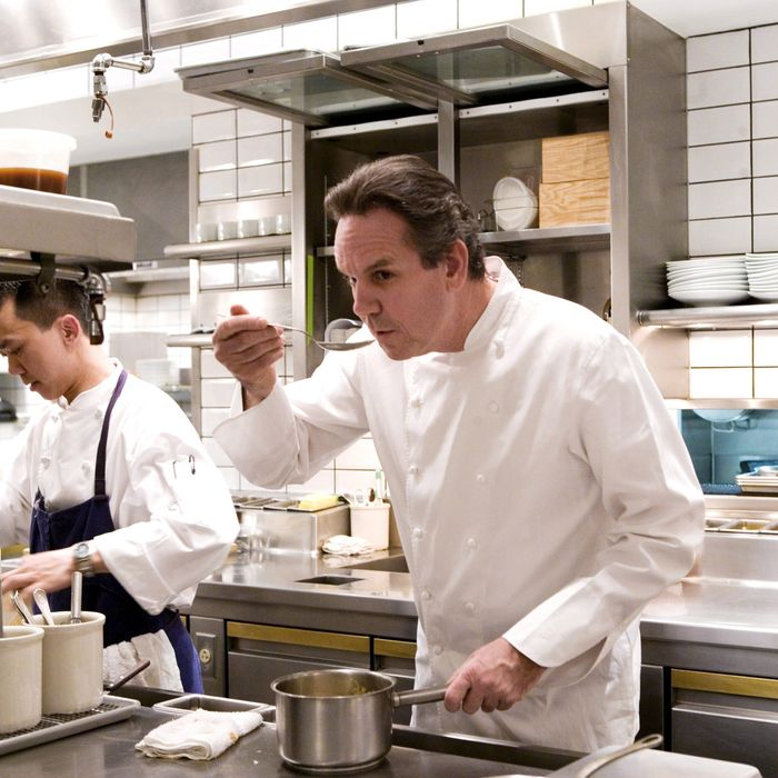 Thomas Keller, working the sauce station at Per Se.
