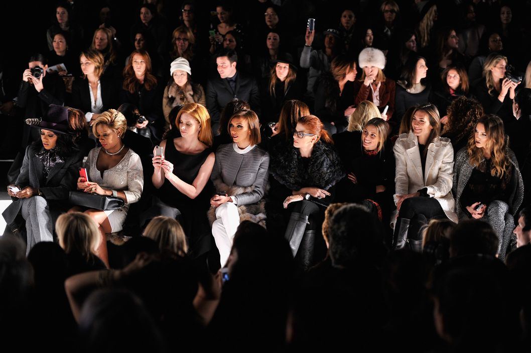 June Ambrose, Mary J. Blige, Sarah Rafferty, Giuliana Rancic, Debra Messing, Olivia Palermo and Katie Cassidy attend the Dennis Basso fashion show during Mercedes-Benz Fashion Week Fall 2014 at The Theatre at Lincoln Center on February 10, 2014 in New York City.