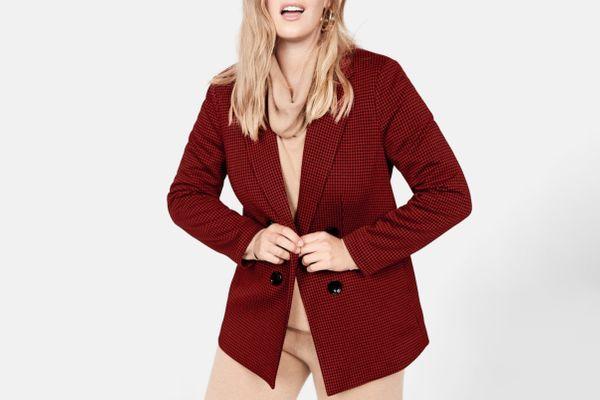 Violeta Double-breasted check blazer