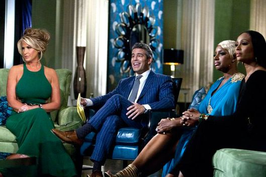 "THE REAL HOUSEWIVES OF ATLANTA -- ""Reunion"" --Pictured: (l-r) Kenya Moore, Kim Zolciak, Andy Cohen, NeNe Leakes, Cynthia Bailey."