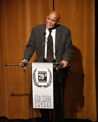 NEW YORK, NY - JANUARY 06: Actor Harry Belafonte attends the 2013 New York Film Critics Circle awards at The Edison Ballroom on January 6, 2014 in New York City. (Photo by Cindy Ord/Getty Images)