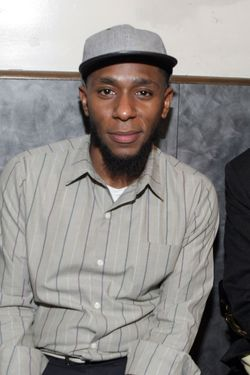 l to r: Recording Artist Yasiin Bey formely known as Mos Def and Recording Gary Bartz backstage at the First Annual Indelible Festival produced by Jill Newman Productions held at Highline Ballroom on January 6, 2012 in New York City. © Terrence Jennings / Retna Ltd.
