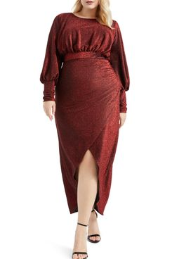 eloquii long sleeve sparkle maxi dress red velvet
