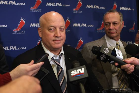 (L-R) Bill Daly, Deputy Commissioner of the National Hockey League and Steve Fehr of the NHL Players Association address the media following negotiations at the Westin Times Square Hotel on December 4, 2012 in New York City.