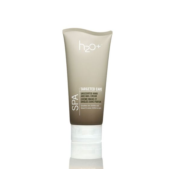 "It contains vitamin E, silk proteins, and marine botanicals.  <i>H2O Plus Unscented Hand and Nail Cream, <a href=""http://www.h2oplus.com/product/unscented+hand+and+nail+cream.do"">$16</a></i>"