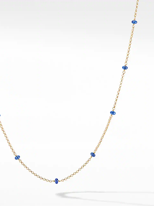 Cable Collectibles® Bead and Chain Necklace in 18K Yellow Gold with Blue Sapphires