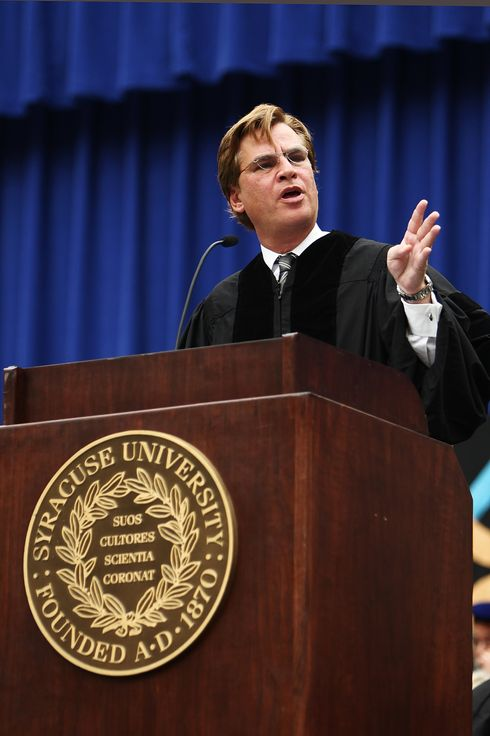 SYRACUSE, NY - MAY 13:  Aaron Sorkin, screenwriter, producer and playwright, gestures during his address at the 2012 Syracuse University Commencement at Syracuse University on May 13, 2012 at the Carrier Dome in Syracuse, New York.  (Photo by Nate Shron/Getty Images)
