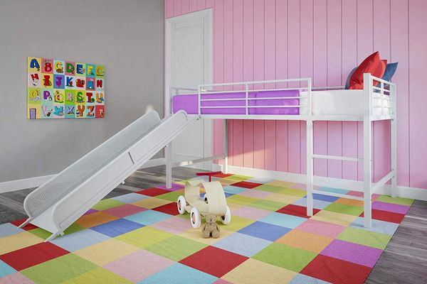 DHP Junior Twin Metal Loft Bed With Slide, White