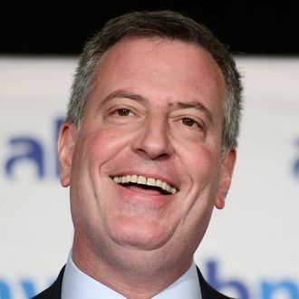 New York City mayoral candidate Bill De Blasio addresses a speech in front of members of the Association for a Better New York (ABNY) in New York, October 4, 2013.