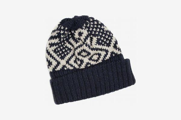 Drake's Wool Fairisle Hat in Navy
