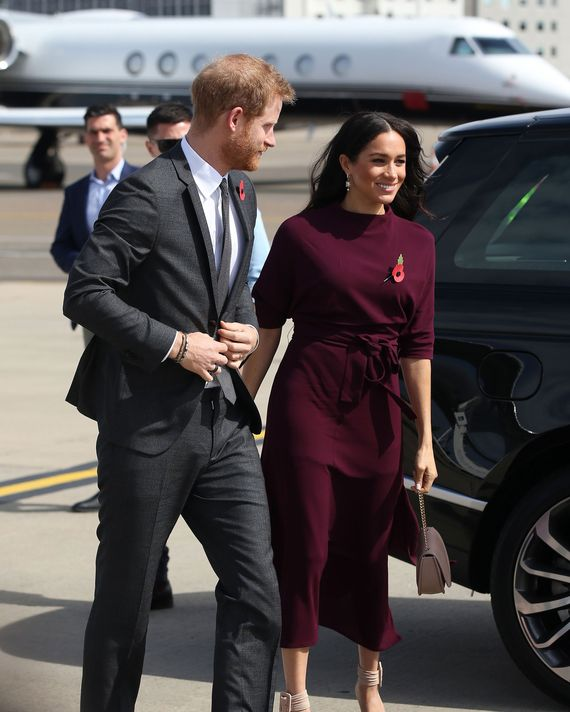 Meghan Markle and Prince Harry at the airport.