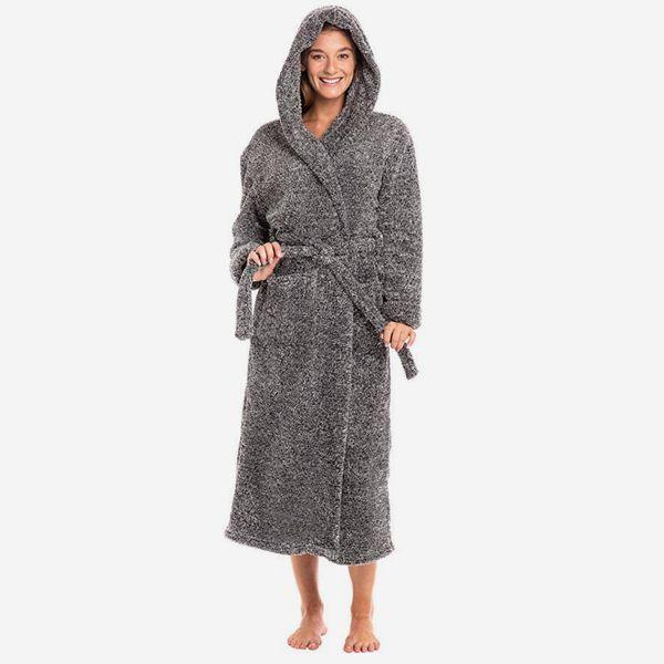 Alexander Del Rossa Women's Warm Fleece Robe with Hood