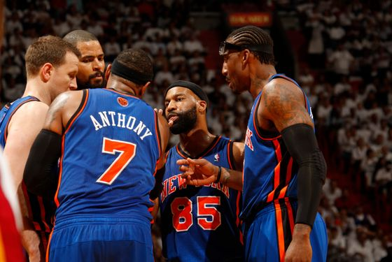 MIAMI, FL - APRIL 30: The New York Knicks huddle against the Miami Heat in Game Two of the Eastern Conference Quarterfinals during the 2012 NBA Playoffs on April 30, 2012 at American Airlines Arena in Miami, Florida. NOTE TO USER: User expressly acknowledges and agrees that, by downloading and or using this photograph, User is consenting to the terms and conditions of the Getty Images License Agreement. Mandatory Copyright Notice: Copyright 2012 NBAE  (Photo by Issac Baldizon/NBAE via Getty Images)