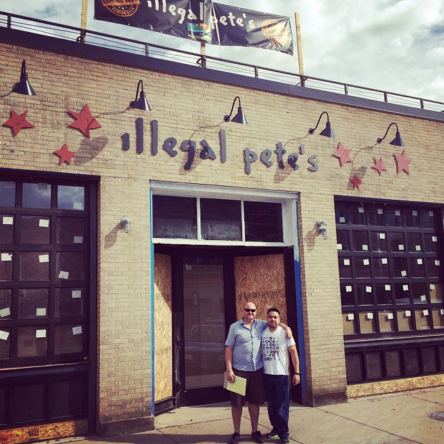 Legal Pete and his documentation outside the new location.