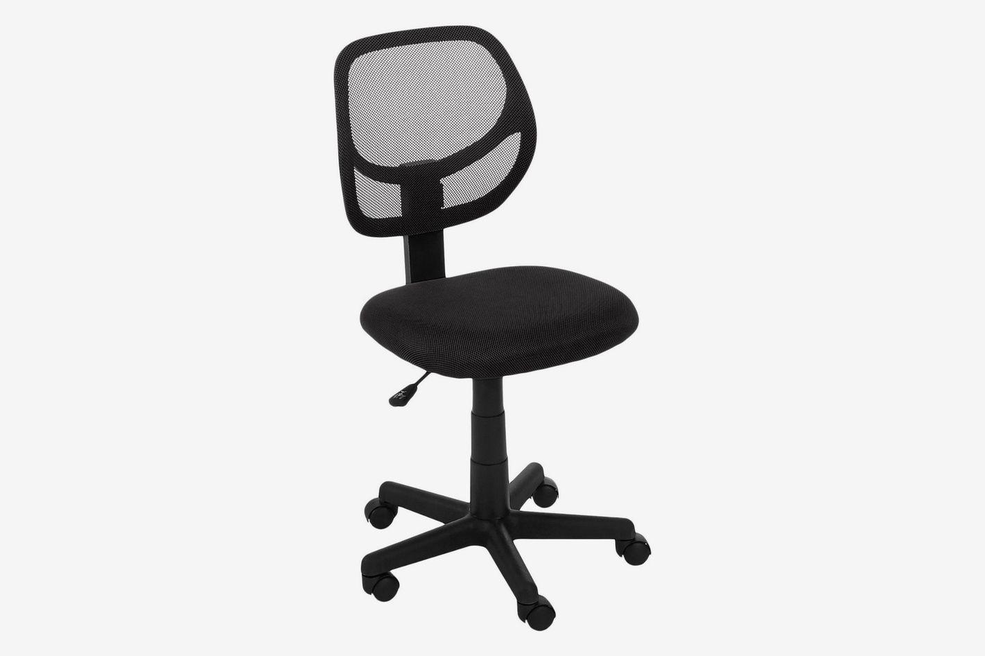Basics Black Mesh Armless Office Chair