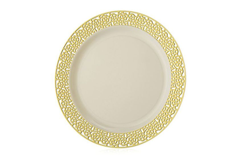 Elite Selection Pack of 50 Dinner Disposable Plastic Plates Ivory Color With Gold Lace Rim