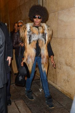 Television personality and model Naomi Campbell leaves the Sirius XM Studios on March 11, 2014 in New York City.