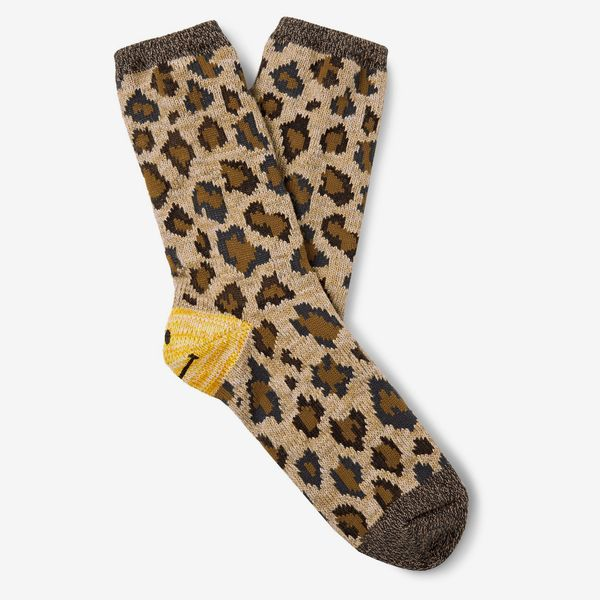 Kapital Smiley Leopard-Jacquard Cotton-Blend Socks