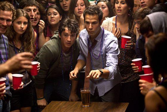 """(Center left to right.)  Myles Teller and Skylar Astin star in Relativity Media's """"21 & Over""""."""