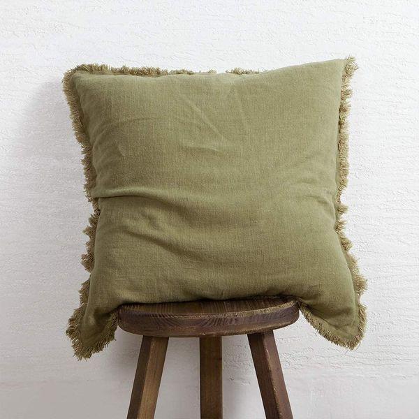 ATLINIA Fringed Linen 20 x 20 Soft Cushion Cover