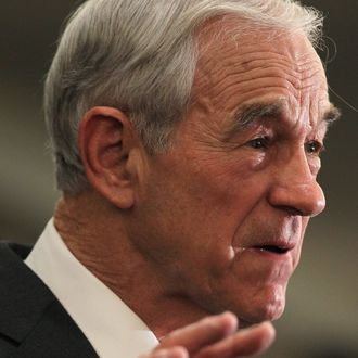 SPRINGFIELD, VA - FEBRUARY 28: Republican Presidential candidate and U.S. Rep. Ron Paul (R-TX) speaks to supporters during a primary night party February 28, 2012 in Springfield, Virginia. According to early exit polls, Mitt Romney has a very slim lead over Rick Santorum in Michigan's primary, with Romney projected to win the Arizona primary. Voters in Michigan and Arizona went to the polls today to pick their choice for the Republican presidential nominee. (Photo by Alex Wong/Getty Images)