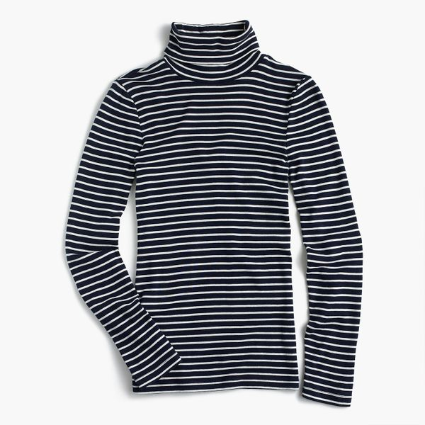 Perfect Fit Turtleneck in Navy/Ivory Stripe