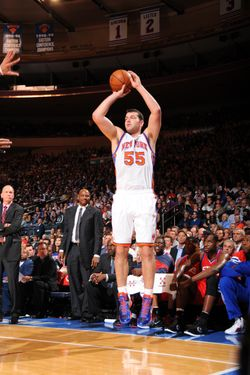 NEW YORK - JANUARY 11: Josh Harrellson #55 of the New York Knicks takes a jump shot during the game against the Philadelphia 76ers on January 11, 2012 at Madison Square Garden in New York, New York.  NOTE TO USER: User expressly acknowledges and agrees that, by downloading and/or using this Photograph, user is consenting to the terms and conditions of the Getty Images License Agreement. Mandatory Copyright Notice: Copyright 2012 NBAE   (Photo by Jesse D. Garrabrant/NBAE via Getty Images)