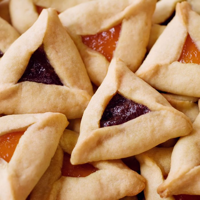 An expansive pile of apricot and prune hamantaschen