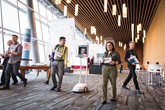 Edward Snowden mingles with attendees via remote video conference robot at TED2014 - The Next Chapter, Session 2 - Retrospective, March 17-21, 2014, Vancouver Convention Center, Vancouver, Canada. Photo: Bret Hartman / TED