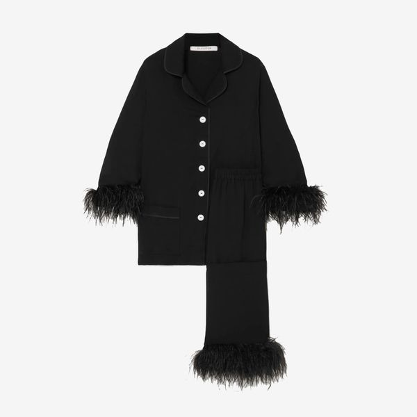 Black Tie feather-trimmed crepe de chine pyjama set