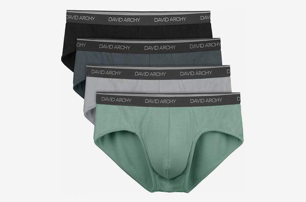 David Archy Men's 4-Pack Bamboo Rayon Soft Lightweight Pouch Briefs